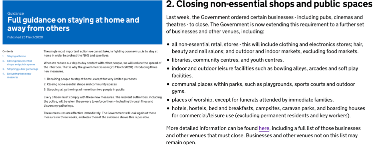Closing of non essential shops and public spaces