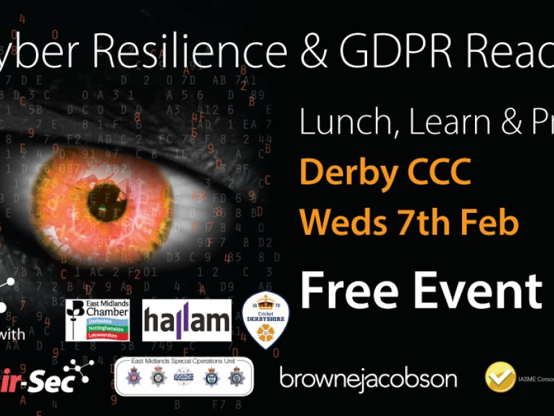 Leading Cyber Security & GDPR experts to brief SMEs at free event in Derby
