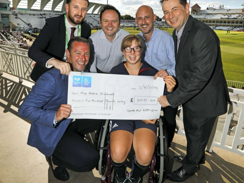 Notts County manager presents Paralympian hopeful with cheque