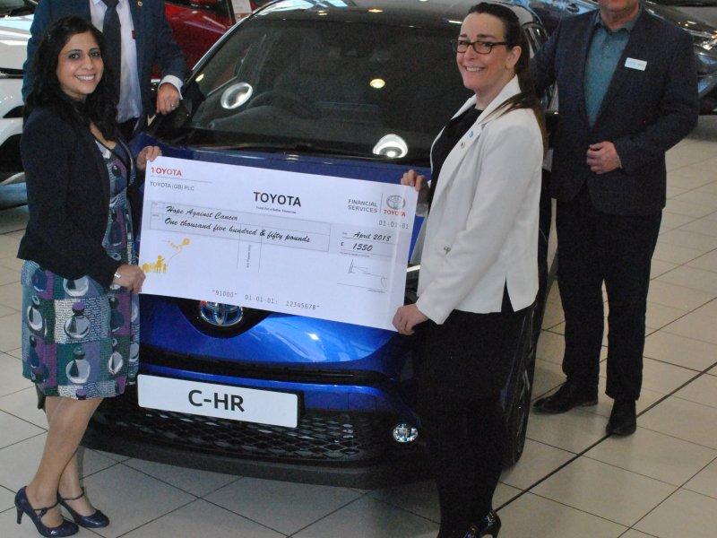 Farmer & Carlisle Toyota donate £1,550 to local charity Hope Against Cancer