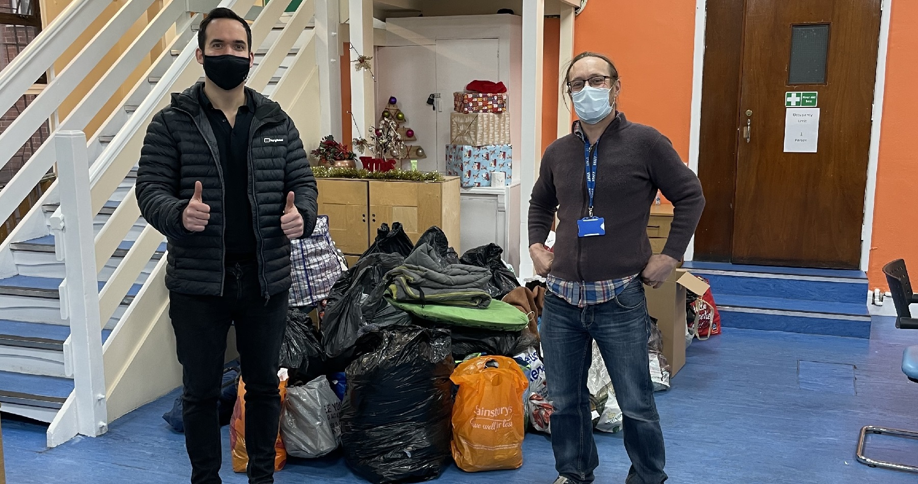 Hallam donates more than £1,000 worth of food and warm clothes to help Emmanuel House appeal