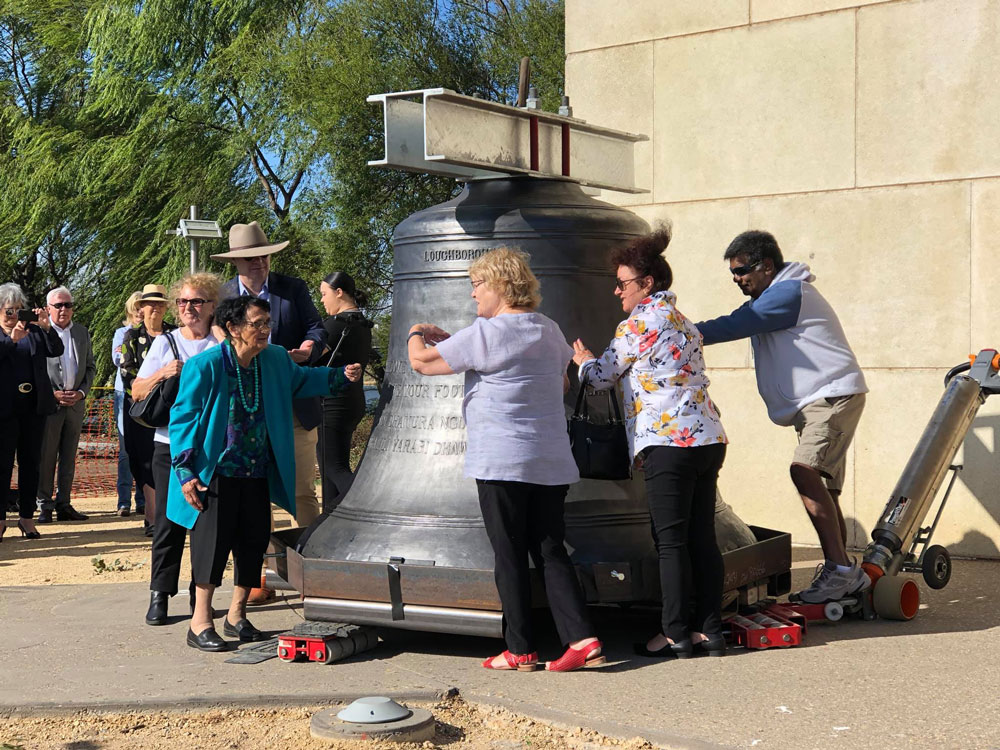 Commemorative five tonne bell cast in UK gets Royal escort down under