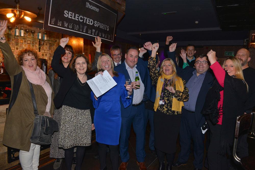 Celebrating a successful vote