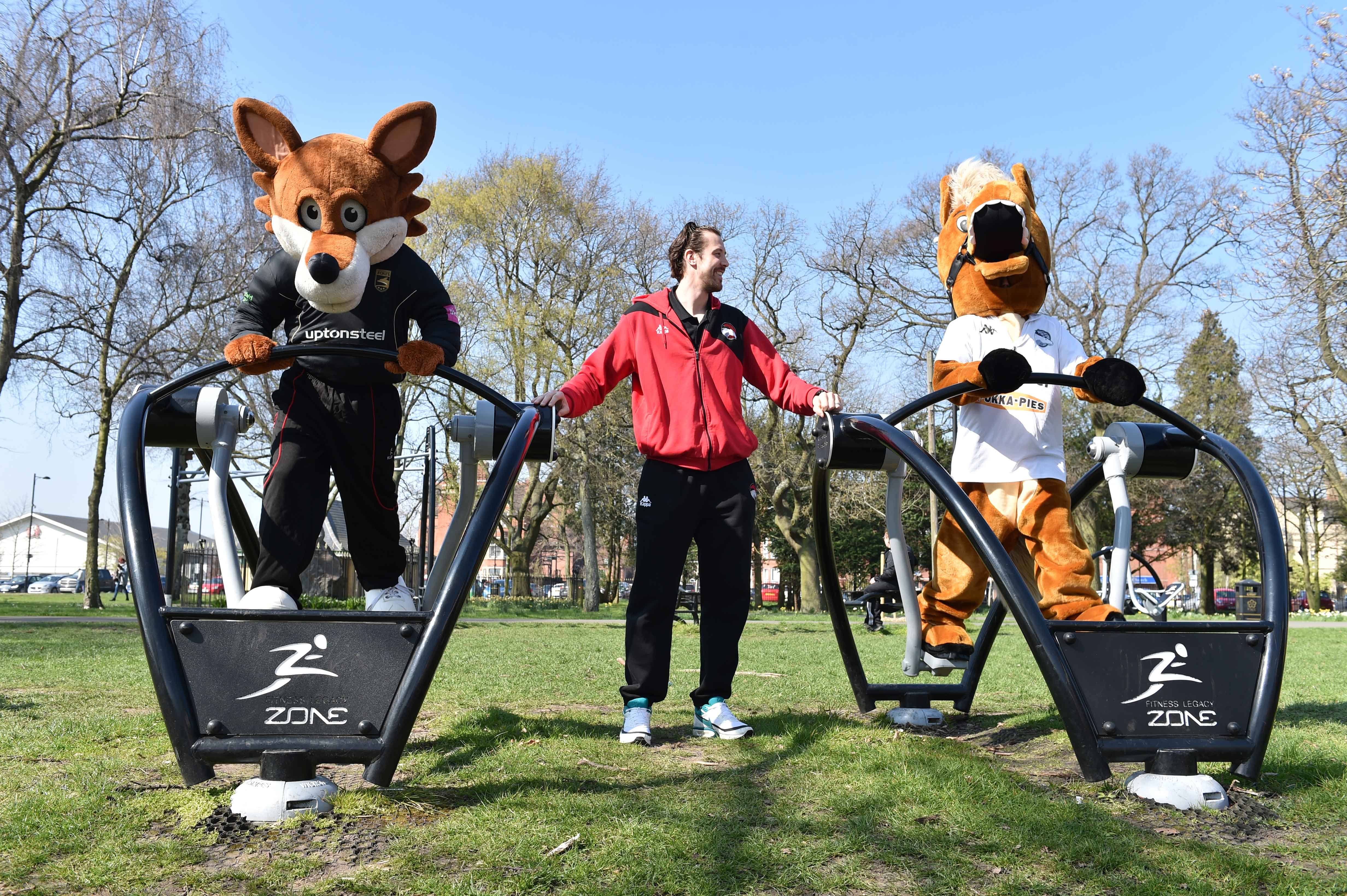 Leicester's sporting mascots flex their muscle in outdoor gym competition