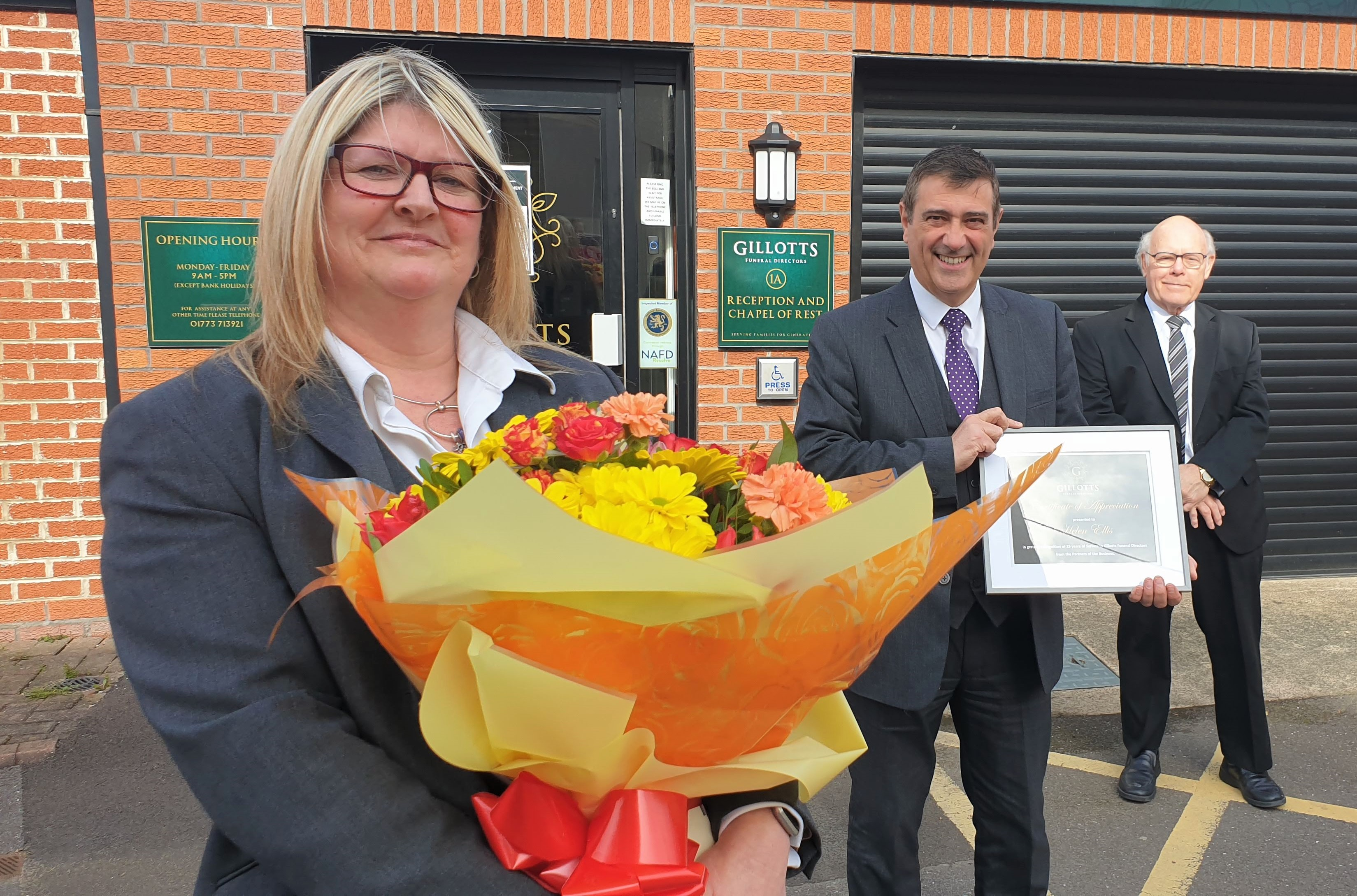 Funeral director Helen marks 25 years of caring at Gillotts