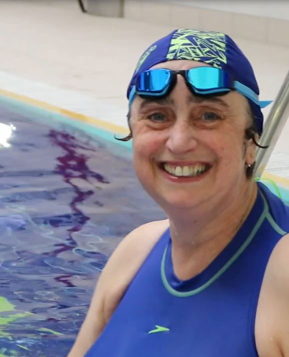 Derby Lacemaker swaps patterns for swimming caps in aid of charity