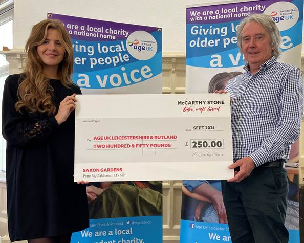 Leicestershire Charity receives donation from the UK's leading retirement housing developer