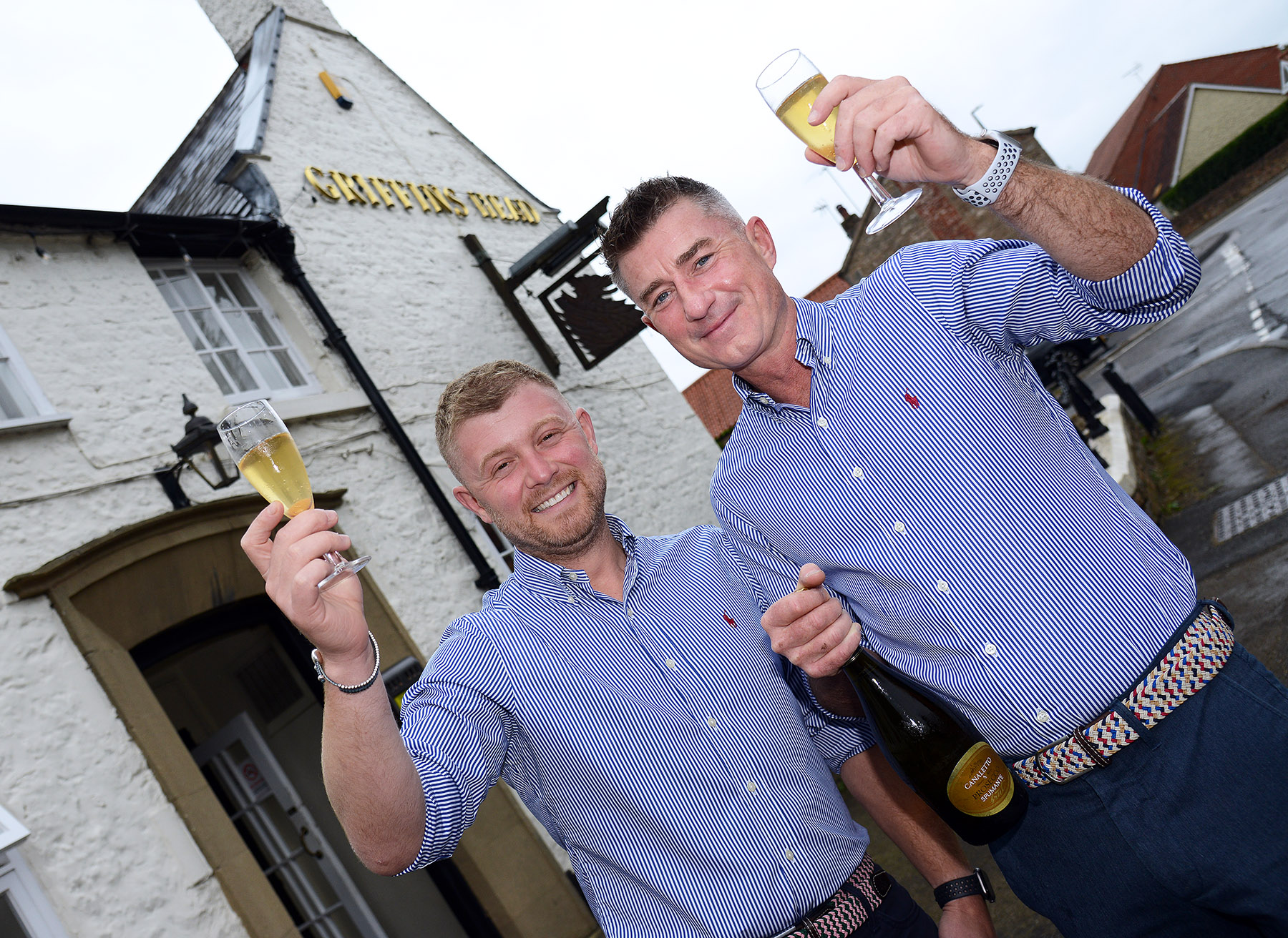 Ross and Marc raise a glass as the new landlords of Nottinghamshire pub