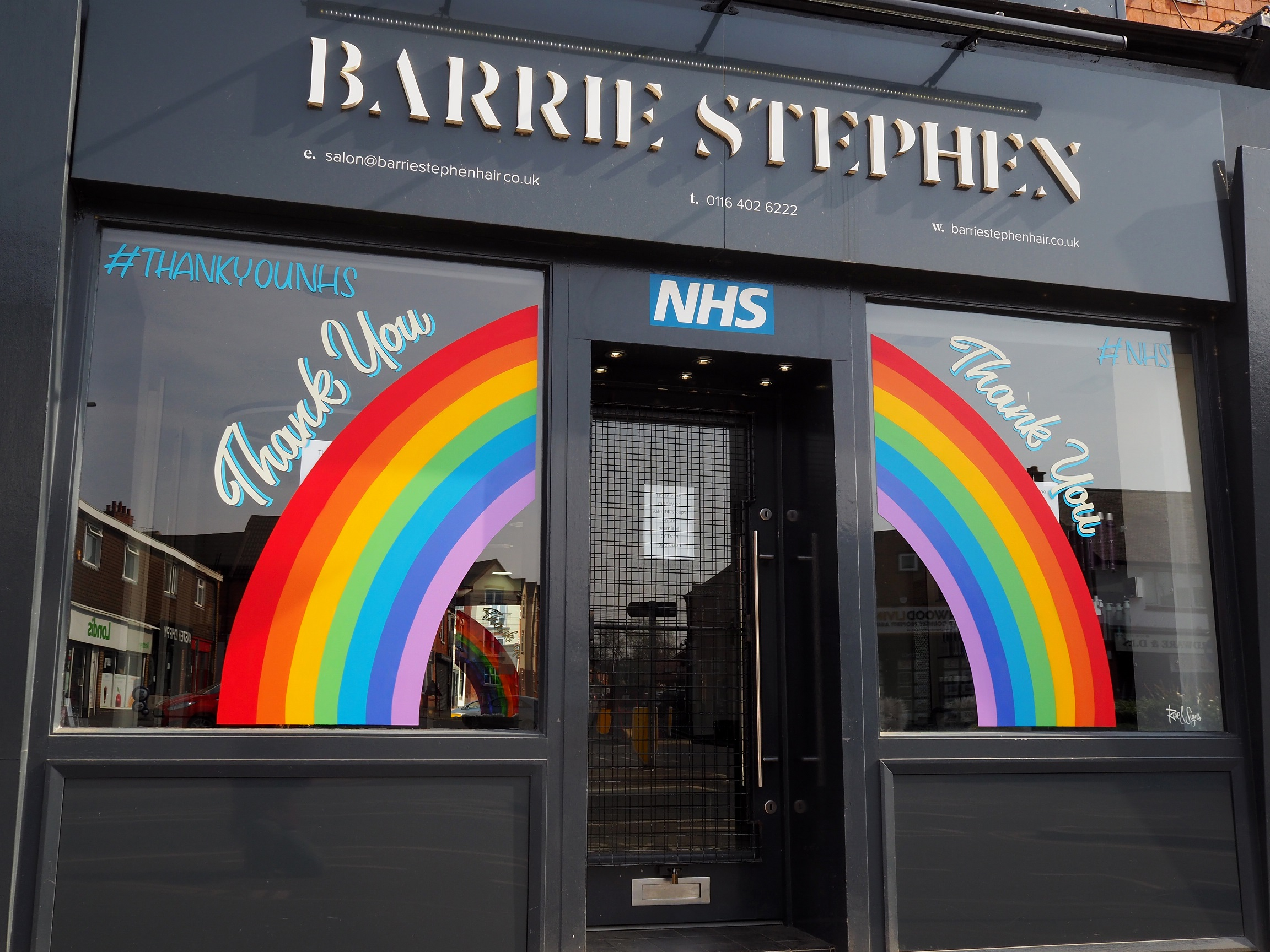 Leicester hairdresser thanks NHS workers with rainbow windows