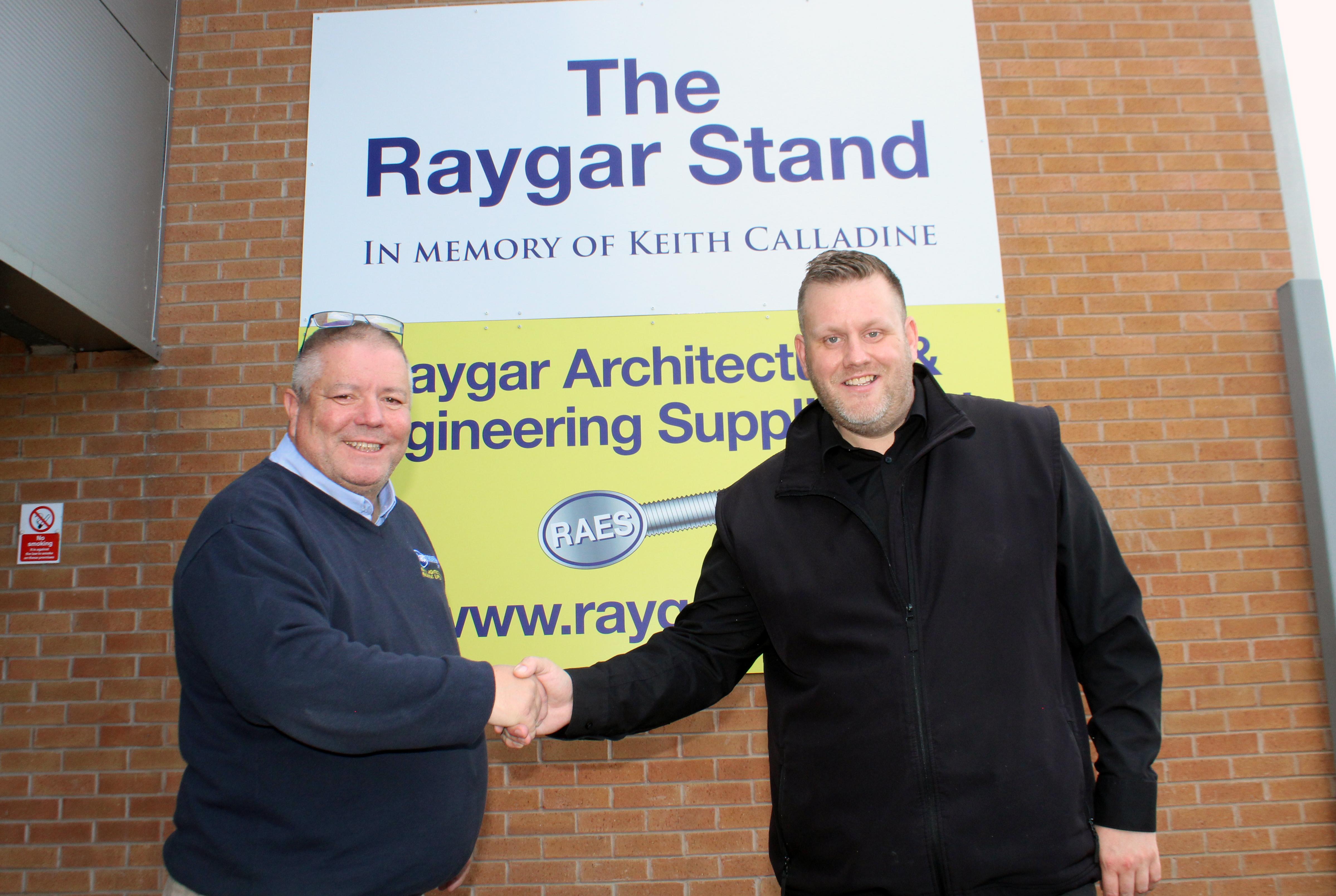 Raygar's sponsorship football boards installed at the Pirelli Stadium