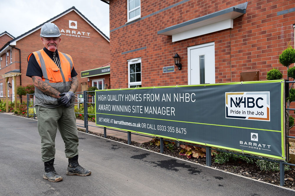 Barratt Homes site manager wins NHBC Award for top quality work in Staffordshire
