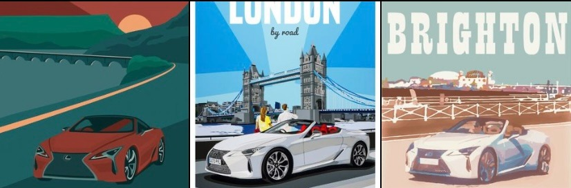 Lexus Celebrates Grand Touring Tradition with UK Travel Posters featuring the LC Convertible