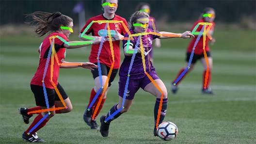 Footballers analysed using AI tech. Original image courtsey of Ben Lumley Photography.